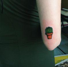 Hand Poked Cactus Tattoo by Gökşen Gökalp