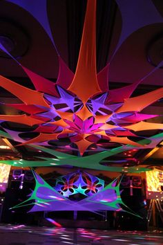 Posted Image - All For Garden Event Themes, Event Decor, Dj Pult, Pop Art Party, Fabric Structure, Glow Party, Ceiling Decor, Fantasy Landscape, Stage Design