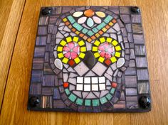 Day of the Dead wall plaque/mask/skull in black with by JosaicsAZ