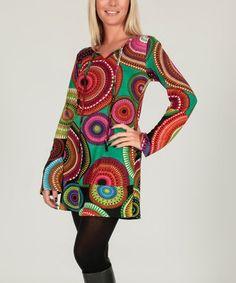 Look at this #zulilyfind! Burgundy & Green Mesmerize Shift Dress #zulilyfinds