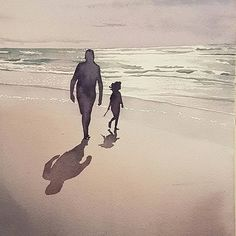 Child & grandfather beach stroll...watercolour painting commission