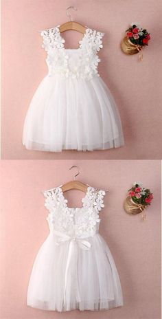 White Sleeveless Lace A Line Flower Girl Dresses Short Littl.- White Sleeveless Lace A Line Flower Girl Dresses Short Little Girl Dresses - Cute Flower Girl Dresses, Lace Flower Girls, Little Girl Dresses, Girls Dresses, Dresses Dresses, Baby Girl White Dress, Flower Girl Dress Patterns, Wedding Flower Girls, Little Girls White Dress