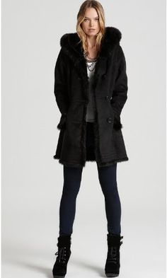 Picture of Portrait Ladies Faux Shearling Coat Black Faux Fur Hoodie Warm Lined Womens Coat, a Womens Coat by PORTRAIT