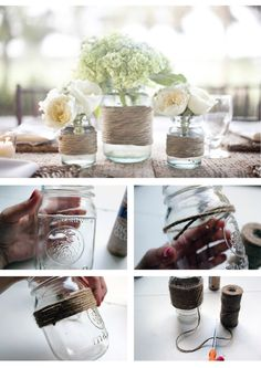 DIY twine wrapped mason jars for a wedding or party (via HollyWould)