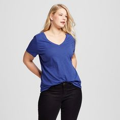 Women's Plus Size V-Neck Tee - Ava & Viv™ : Target