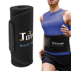 b882261636d6b Amazon.com   TOPLEAP Waist Trimmer Belt Abdominal Trainer Ab Belt for Men  Workout Slimmer Kit Weight Loss Wrap Black   Sports   Outdoors