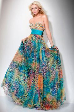 Details about Formal Prom Strapless Handmade Rainbow Prom Dress ...