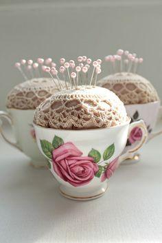 Vintage teacup pincushions