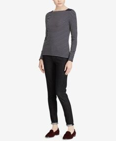 Lauren Ralph Lauren Slim-Fit Striped Top - Navy/Cream XXL