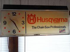"""For Sale Lighted Husqvarna Chain Saw Clock 37""""x 14"""" Sign Man Cave Garage Bar Den Decor #Husqvaran"""