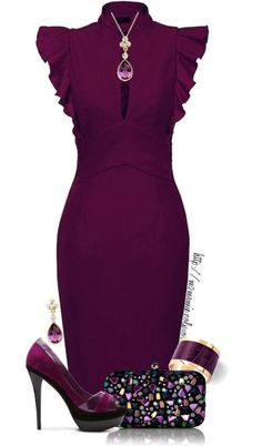 Pretty plum outfit – high heels, a blinged out bag, and a slim fit dress with gorgeous sleeve detail | Pop Miss