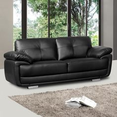 Tips That Help You Get The Best Leather Sofa Deal. Leather sofas and leather couch sets are available in a diversity of colors and styles. A leather couch is the ideal way to improve a space's design and th Real Leather Sofas, Leather Corner Sofa, Best Leather Sofa, Contemporary Sofa, Modern Sofa, Black Couches, Sofa Material, Floor Protectors For Chairs