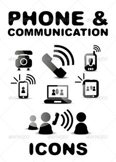 Black Glossy Phone / Communication Icon Set by antishock Vector illustration. Fully editable vector. All design elements included in EPS file (use of Adobe Illustrator or other vector gra