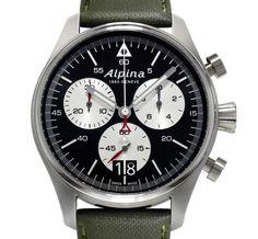 Alpina Startimer Pilot Chrononographe Big Date : cadran noir et argenté