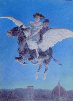 """Carlo Chiostri, illustrazione per """"Marchino. Avventure di un asino"""" di Tommaso Catani. Edizione Salani, 1914."""