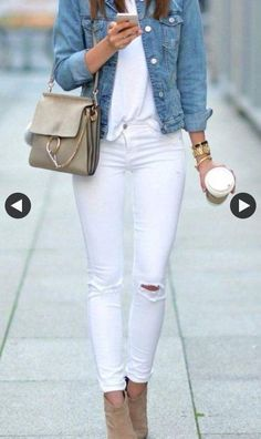 All White Outfit + Denim Jacket
