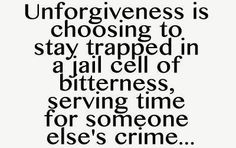 Unforgiveness is choosing to stay trapped in a jail cell of bitternessserving time for someone elses crime good morning quote