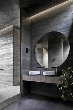 This moody Melbourne house extension by local studio Branch Studio Architects features dark rammed-charcoal walls window nooks and an outdoor bathtub. - April 27 2019 at Modern Bathroom Design, Bathroom Interior Design, Modern Interior Design, Bathroom Designs, Shower Designs, Luxury Interior, Kitchen Design, Bad Inspiration, Bathroom Inspiration