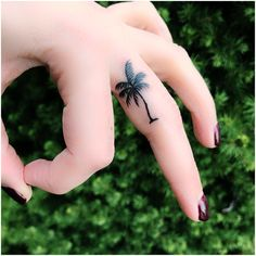 Palm Tree Finger Tattoo