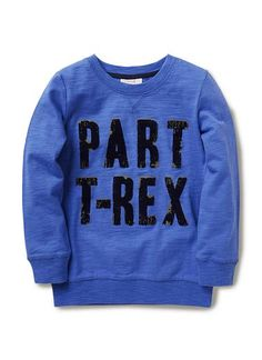 100% cotton slub lightweight sweat with ribbed cuff and hem. Features distressed flocked 'part T-REX slogan'