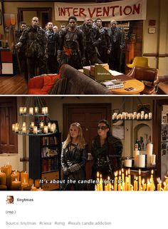 The 100.  Lexa and candles.  The 100 x HIMYM