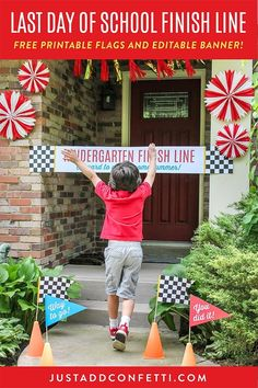 Celebrate the start of summer with this Last Day of School Finish Line! The free printable banner and flags are on the blog! The banner is an editable PDF so you can customize the grade level. Just hang it up across your front door and let your student tear through it! #summer #happysummer #schoolsout #lastdayofschool #freeprintables #JustAddConfetti #finishline #schoolfinishline