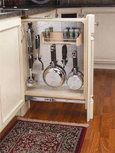 Under Cabinet Storage, Pan Storage, Kitchen Cabinet Organization, Organization Hacks, Storage Ideas, Sprinter Camper, Life Hacks, Best Kitchen Cabinets, Floating