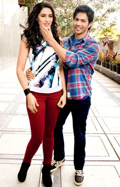 Nargis Fakhri and Varun Dhawan posing for the cameras. #Bollywood #Fashion #Style #Beauty #Handsome #Hot #Cute