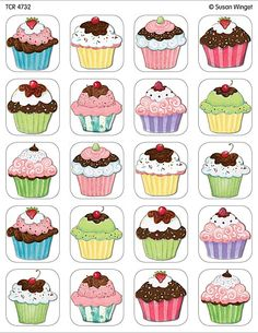 icu ~ Cupcakes Stickers from Susan Winget - Thema cupcakes, Thema taarten en School verjaardag ~ Discrimination visuelle: retrouver les paires Cupcake Drawing, Cupcake Art, Cupcake Illustration, Diy And Crafts, Paper Crafts, Memory Games For Kids, Cake Games For Kids, Teacher Created Resources, Kids Cards