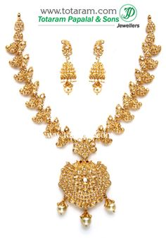 22K Gold 'Peacock' Necklace & Drop Earrings Set with Uncut Diamonds & South Sea Pearls - DS500 - Indian Jewelry from Totaram Jewelers
