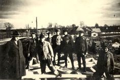 Freiwaldau, Czechoslovakia, Jewish inmates on forced labor in a sawmill.