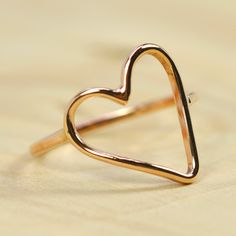 Handmade Solid Gold Heart Ring 14K Rose Gold, Valentines Day Gift for Her, Unique, Sea Babe Jewelry