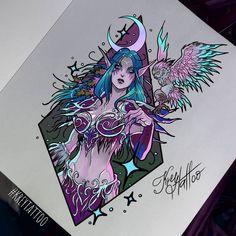 Tyrande Whisperwind by KetrinRey Warcraft Legion, Warcraft Art, World Of Warcraft, Elf Tattoo, Yin Yang Art, Elf Art, Vikings, Night Elf, Japanese Tattoo Art