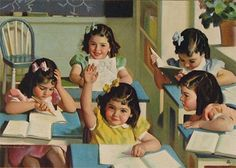 """The Dionne Quints. School Days Calendar"" illustration (1940), Andrew Loomis."