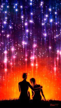 les étoiles filantes sur les amoureux
