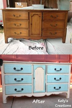 Shabby chic blue and white buffet with light distressing before and after pictures. Refinished by Kelly's Creations. https://www.facebook.com/pages/Kellys-Creations-Refinished-Furniture/524028237619793