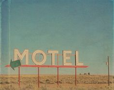 Vintage Motel Sign Photograph, White Sign Against a Blue Sky, Road Trip Photography, Vintage Photography, Red and Green Sign in the Desert