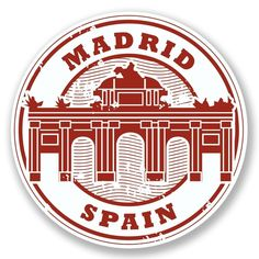 Grunge rubber stamp with words Madrid, Spain inside photo