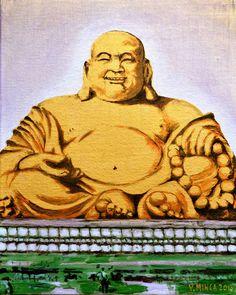 "Buddha Original Artist: Victor Minca Title: Buddha. (563 BC - 483 BC) Spiritual Teacher. Year: 2013 Medium: Acrylic on Canvas Framed  Dimensions: 16"" x 20"" Original & limited art prints are available  www.victorminca.com"