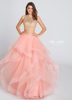 cfdff9e023fd Two Piece Gold Lace Crop Top Tulle Skirt Prom Dress - EW117156