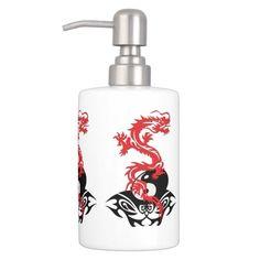 Dragon 40 yin yang soap dispenser and toothbrush holder