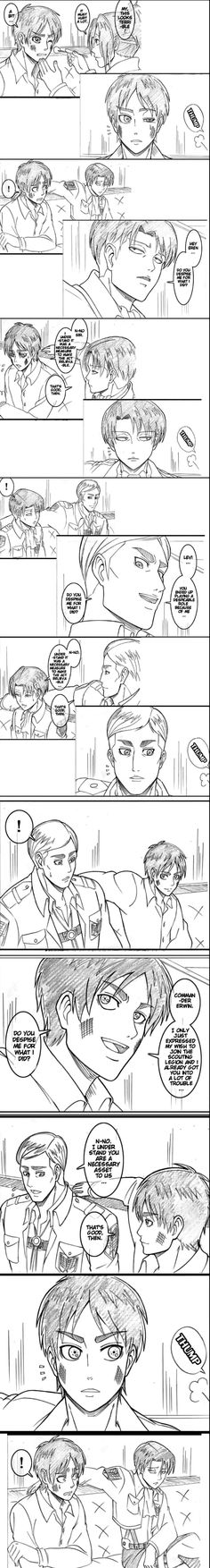 """Just wtf is this, Eren Levi and Erwin after the kick court scene sitting on the couch and switch roles quoting """"do you despise me?"""""""