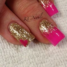 #hotpinknails #gold #reversefade #hearts