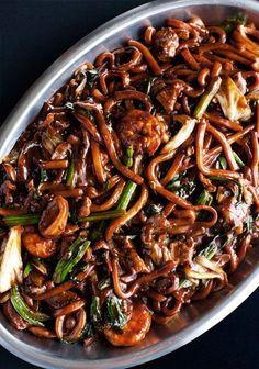 Hokkien Noodles, Malaysian stir-fried noodles with pork, shrimp, squid & vegetables cooked with lard & pork-shrimp broth.