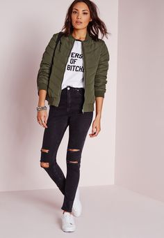 Missguided - Padded Rib Collar Bomber Jacket Khaki