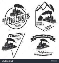 Set of retro train logo, emblems and icons isolated on white background. Vintage locomotive label collection. Railroad labels.