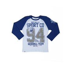 Camiseta Manga Longa Infantil para Menino - Azul/Branca - Lojas Pompeia