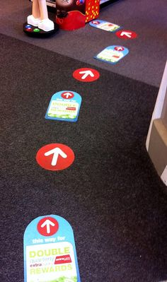 CVS Floor Clings leading to Kiosk from front entrance (Extra Care Card Savings)