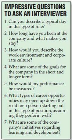 When talking about interviews I could use this to help students brainstorm questions to ask the interviewer. This could help them stand out in an interview.