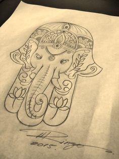 Black Outline Elephant Hamsa Tattoo Design